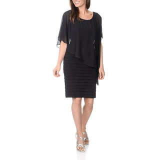 Betsy & Adam Women's Black Multi-layered Dress