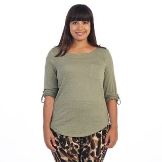 Hadari Women's Plus Size Olive Rolled-sleeve Top