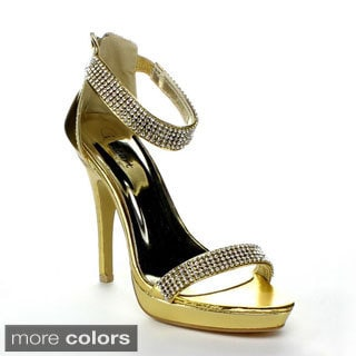 I Heart Collection 'Jewel-04' Women's Ankle-strap Diamond Stilettos