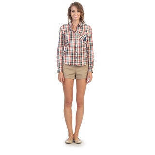 Hadari Women's Red Plaid Button-down Shirt