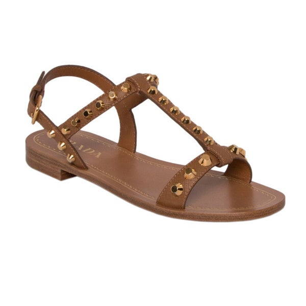 Prada Saffiano Leather Studded Sandals