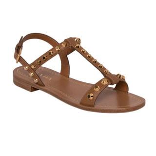 Prada Saffiano Leather Studded Sandals