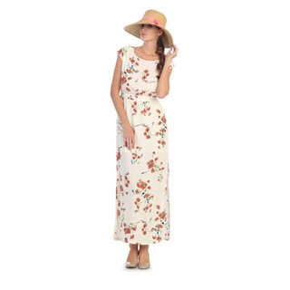 Hadari Women's Floral Print Sleeveless Maxi Dress