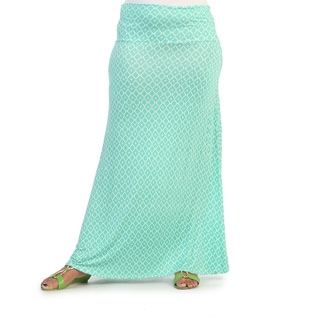 Hadari Women's Plus Size Jade Diamond Print Maxi Skirt