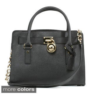 Michael Kors Hamilton Black w/Gold Chain Satchel Handbag