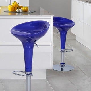 Adeco Deep Blue Form Fitted Adjustable Barstool Chairs (Set of 2)