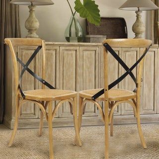 Adeco Elm Wood Antique Dining Chairs (Set of 2)