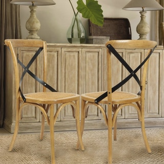 Adeco Elm Wood Contrasting Back Woven Rattan Vintage-style Dining Chair Curved Leg Tan Color (Set of 2)