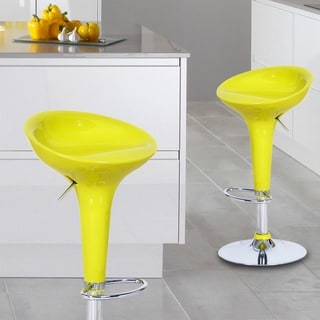 Adeco Yellow Form Fitted Adjustable Barstool Chairs (Set of 2)