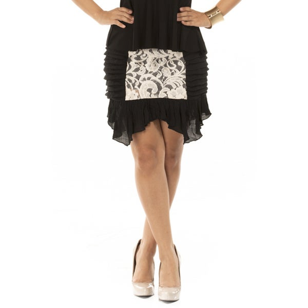 Women's Diamonds and Lace Black Ruffled Mini Skirt