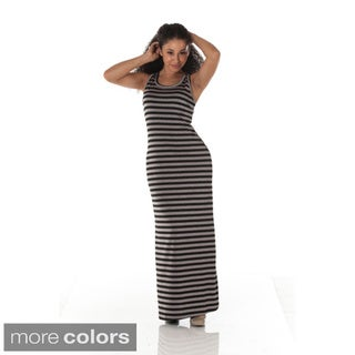 Women's Striped Sleeveless Maxi Flair Dress