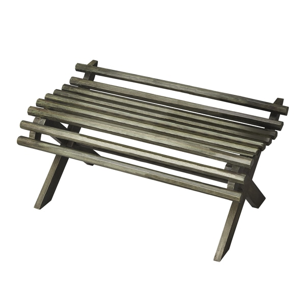 Grey Green Slatted Bench