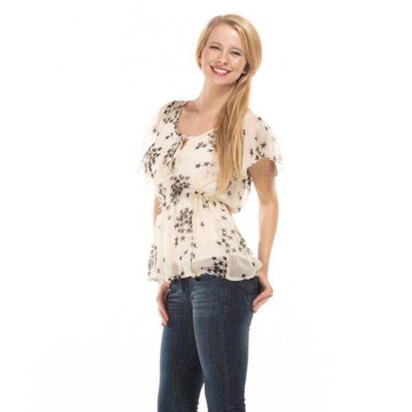 Starz Women's Short Sleeve Printed Sheer Chiffon Top