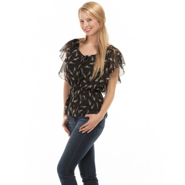 Bluebird Women's Short Sleeve Black Printed Sheer Chiffon Top
