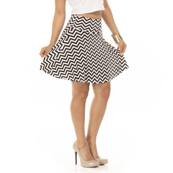 Women's Black/ White Chevron Skater Skirt
