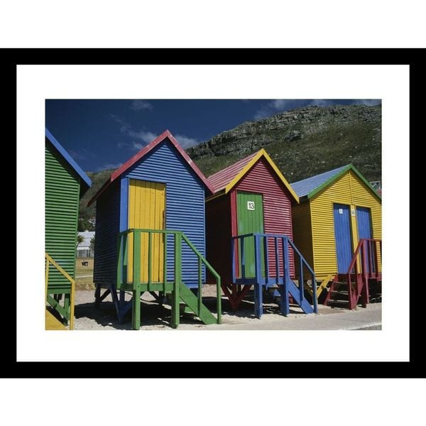 Tino Soriano 'Colorful changing huts line a South African beach on the cape ' Framed Photo