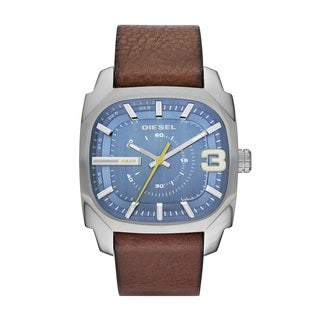 Diesel Men's DZ1653 Square Blue Dial Nude Leather Watch