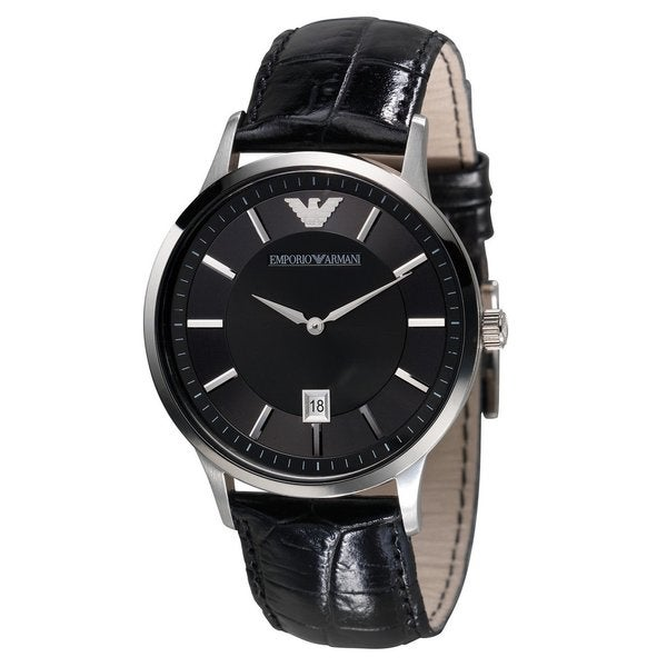 Armani Men's AR2411 Classic Renato Black Leather Watch