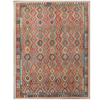 Herat Oriental Afghan Hand-woven Tribal Kilim Rust/ Teal Wool Rug (10'1 x 12'9)