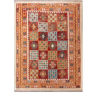 Herat Oriental Afghan Hand-woven Tribal Kilim Burgundy/ Beige Wool Rug (9'7 x 12'10)