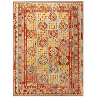 Herat Oriental Afghan Hand-woven Tribal Kilim Tan/ Burgundy Wool Rug (9'5 x 12'6)