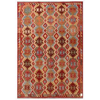 Herat Oriental Afghan Hand-woven Tribal Kilim Red/ Beige Wool Rug (6'6 x 9'7)
