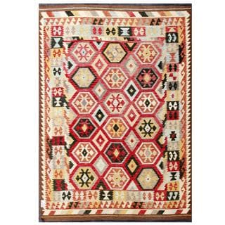 Herat Oriental Afghan Hand-woven Tribal Kilim Red/ Green Wool Rug (6'7 x 9'6)