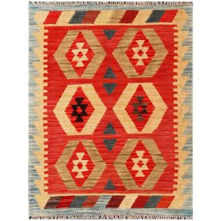 Herat Oriental Afghan Hand-woven Tribal Kilim Red/ Tan Wool Rug (2'3 x 2'10)