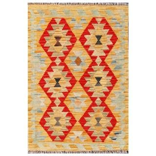 Herat Oriental Afghan Hand-woven Tribal Kilim Red/ Tan Wool Rug (2' x 2'10)