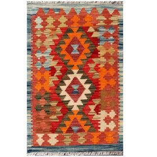 Herat Oriental Afghan Hand-woven Tribal Kilim Brown/ Red Wool Rug (2' x 3'1)