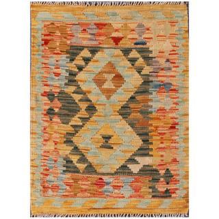Herat Oriental Afghan Hand-woven Tribal Kilim Tan/ Dark Green Wool Rug (2'1 x 2'11)