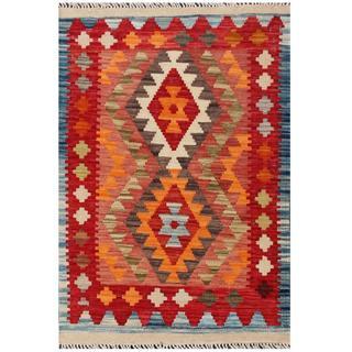 Herat Oriental Afghan Hand-woven Tribal Kilim Red/ Rust Wool Rug (2'1 x 3'1)