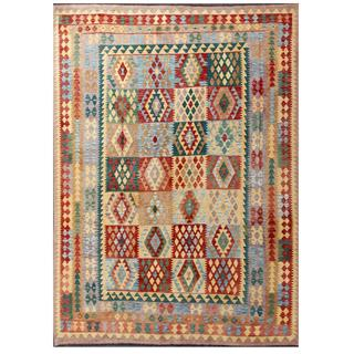 Herat Oriental Afghan Hand-woven Tribal Kilim Red/ Green Wool Rug (8'1 x 11'3)