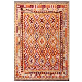 Herat Oriental Afghan Hand-woven Tribal Kilim Orange/ Blue Wool Rug (8' x 11'3)