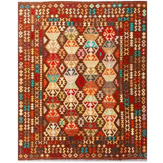 Herat Oriental Afghan Hand-woven Tribal Kilim Red/ Brown Wool Rug (8' x 9'10)