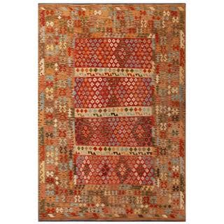 Herat Oriental Afghan Hand-woven Tribal Kilim Red/ Tan Wool Rug (8'1 x 11'10)