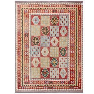 Herat Oriental Afghan Hand-woven Tribal Kilim Maroon/ Green Wool Rug (9'9 x 12'10)