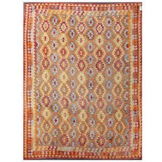 Herat Oriental Afghan Hand-woven Tribal Kilim Purple/ Tan Wool Rug (9'9 x 12'8)