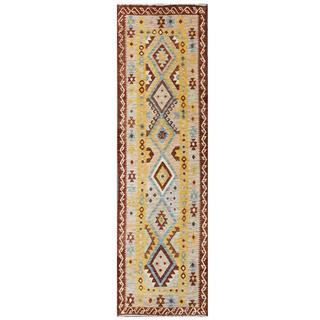 Herat Oriental Afghan Hand-woven Tribal Kilim Grey/ Brown Wool Runner (2'10 x 9'9)