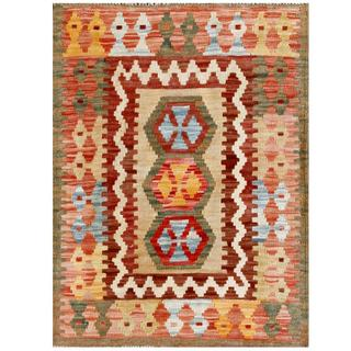 Herat Oriental Afghan Hand-woven Tribal Kilim Beige/ Burgundy Wool Rug (2' x 2'8)