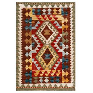 Herat Oriental Afghan Hand-woven Tribal Kilim Red/ Brown Wool Rug (2'1 x 3')