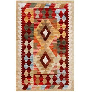 Herat Oriental Afghan Hand-woven Tribal Kilim Burgundy/ Ivory Wool Rug (2' x 3')