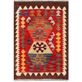 Herat Oriental Afghan Hand-woven Tribal Kilim Red/ Ivory Wool Rug (2' x 2'11)