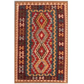 Herat Oriental Afghan Hand-woven Tribal Kilim Red/ Navy Wool Rug (3'4 x 5'1)