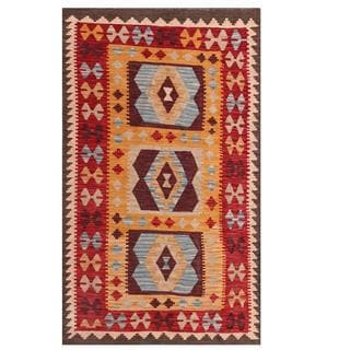 Herat Oriental Afghan Hand-woven Tribal Kilim Red/ Gold Wool Rug (3'3 x 5'4)
