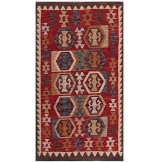 Herat Oriental Afghan Hand-woven Tribal Kilim Maroon/ Navy Wool Rug (2'10 x 5'1)