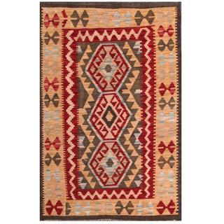 Herat Oriental Afghan Hand-woven Tribal Kilim Olive Green/ Beige Wool Rug (3'2 x 4'10)