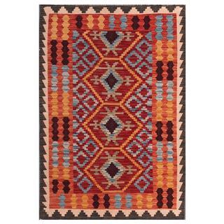 Herat Oriental Afghan Hand-woven Tribal Kilim Maroon/ Grey Wool Rug (3'5 x 5')