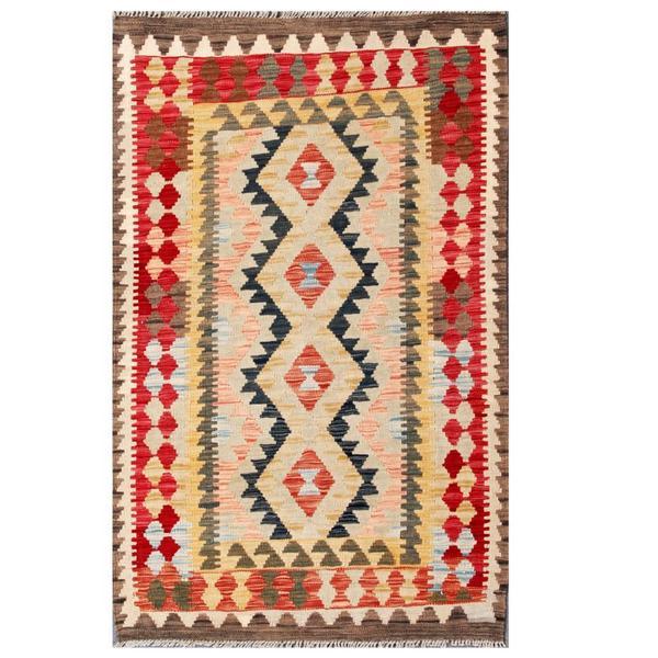 Herat Oriental Afghan Hand-woven Tribal Kilim Red/ Brown Wool Rug (3'3 x 5'2)