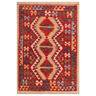 Herat Oriental Afghan Hand-woven Tribal Kilim Red/ Gold Wool Rug (3'2 x 4'10)